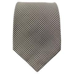 PAUL STUART Navy & White Houndstooth Silk Tie
