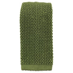 PAUL STUART Olive Green Silk Textured Knit Tie