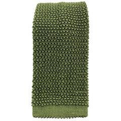 PAUL STUART Olive Silk Textured Knit Tie