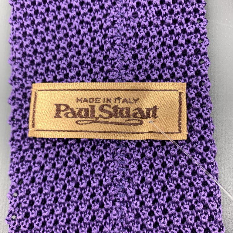 PAUL STUART Purple Silk Textured Knit Tie For Sale 1