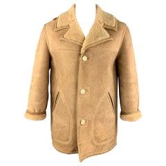PAUL STUART Size 40 Tan Shearling Notch Lapel Coat