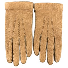 PAUL STUART Size 8 Tan Textured Leather Knit Detachable Liner Gloves