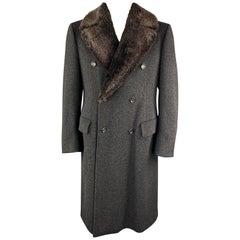PAUL STUART Size L Charcoal Camel Hair / Wool Double Breasted Long Coat