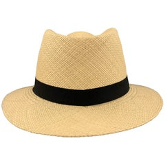 PAUL STUART Woven Natural Straw Panama Hat