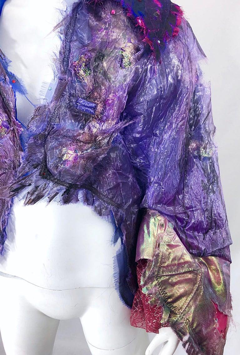 Women's or Men's Paul Tazewell Tony Award Winner OOAK Purple Pink Rhinestone Custom Jacket For Sale