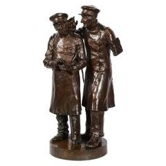 Paul Thubert 'English, 19th Century' a Large Bronze Sculpture of War Veterans