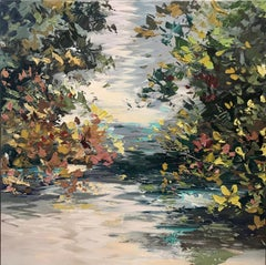 Peaceful Place - abstract landscape oil painting contemporary modern art 21st C