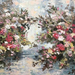 Rose Water, a colourful abstract expressionist lake contemporary painting
