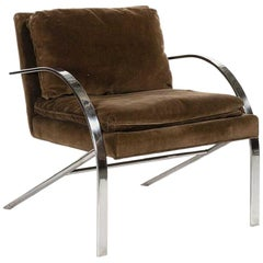 Paul Tuttle 'Arco' Lounge Chair, Brown Velvet and Chrome