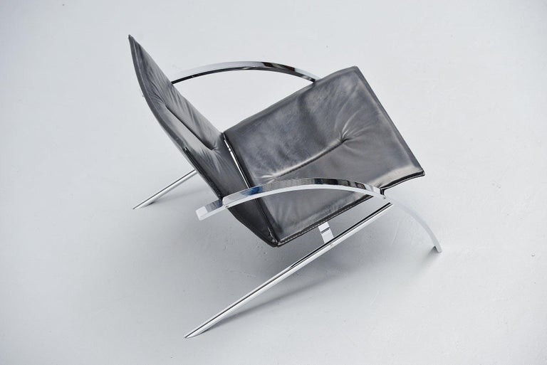 Plated Paul Tuttle Arco Lounge Chair Strassle Switzerland, 1976 For Sale