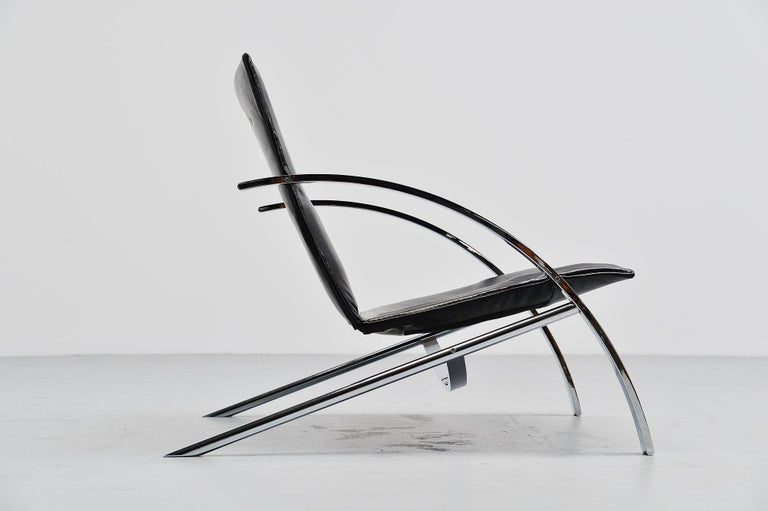 Leather Paul Tuttle Arco Lounge Chair Strassle Switzerland, 1976 For Sale