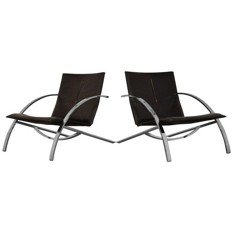 Paul Tuttle Arco Lounge Chairs for Strässle of Switzerland, 1970s
