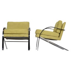 "Paul Tuttle ""Arco"" Lounge Chairs in Green Suede"