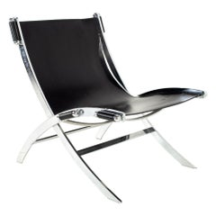 Paul Tuttle for Flexform Mid Century Black Leather and Chrome Lounge Chair