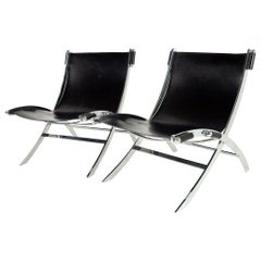 Paul Tuttle for Flexform Midcentury Black Leather and Chrome Lounge Chairs, Pair