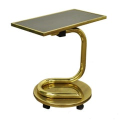 Paul Tuttle Mid-Century Modern Brass Revolving Tray Top Anaconda Side Table