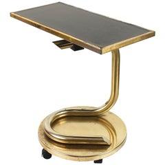Paul Tuttle Mid-Century Modern Brass Revolving Tray Top Anaconda Side Table