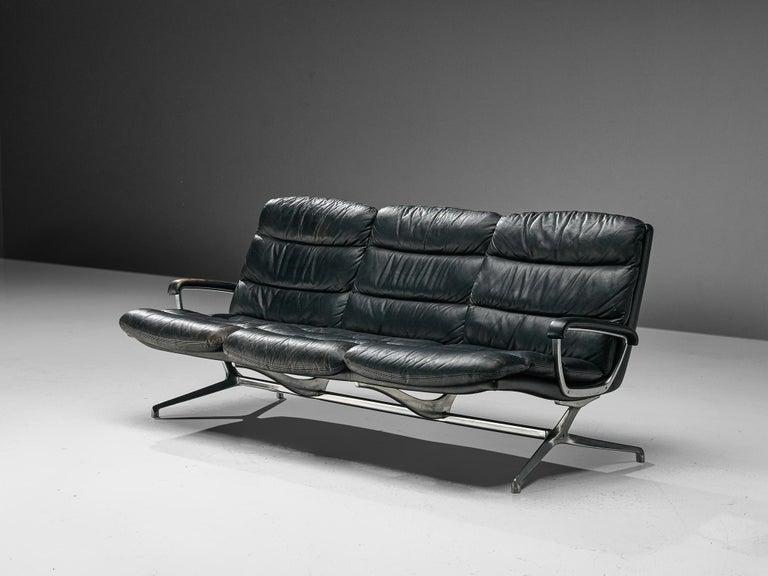 Mid-Century Modern Paul Tuttle Sofa in Black Leather