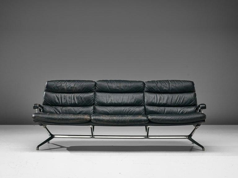 Swiss Paul Tuttle Sofa in Black Leather