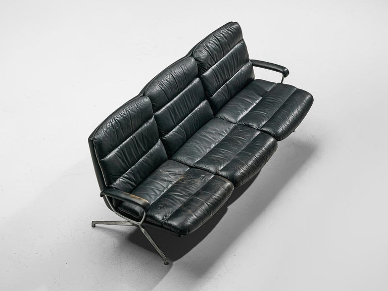 Paul Tuttle Sofa in Black Leather In Good Condition In Waalwijk, NL