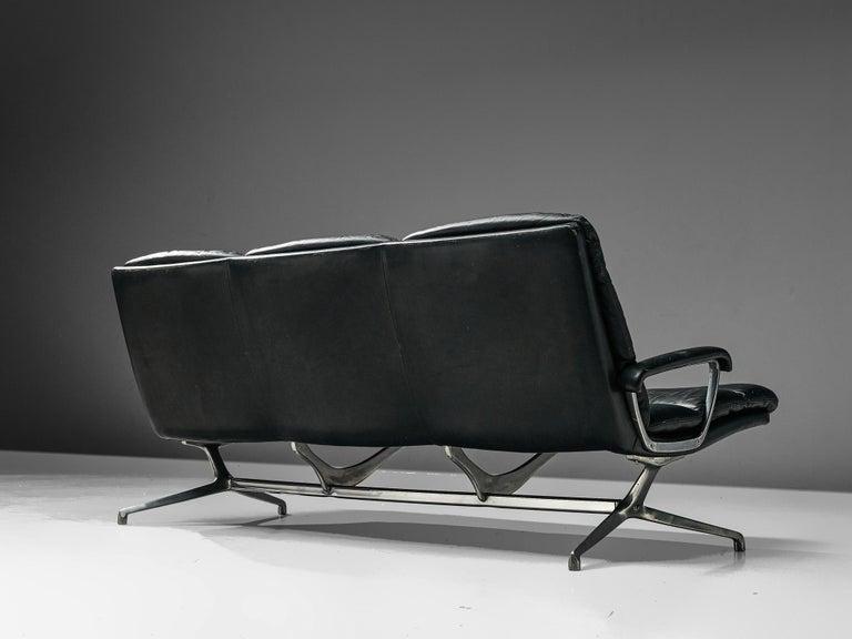 20th Century Paul Tuttle Sofa in Black Leather
