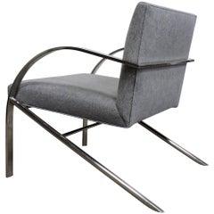 Paul Tuttle Style Arco Mid-Century Modern Chrome Lounge Chair by Bernhardt