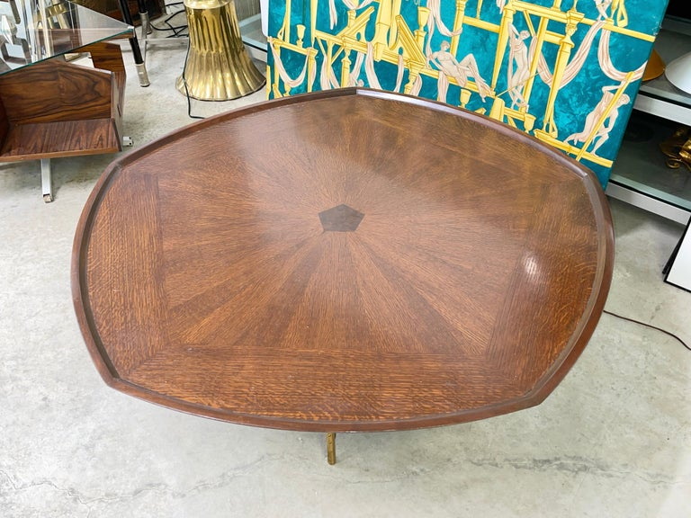 Very rare Mid-Century Modern large-scale pentagonal starburst coffee table designed by Paul Tuttle and Winsor White, circa 1960.  This table was a limited edition production piece by Baker Furniture from the