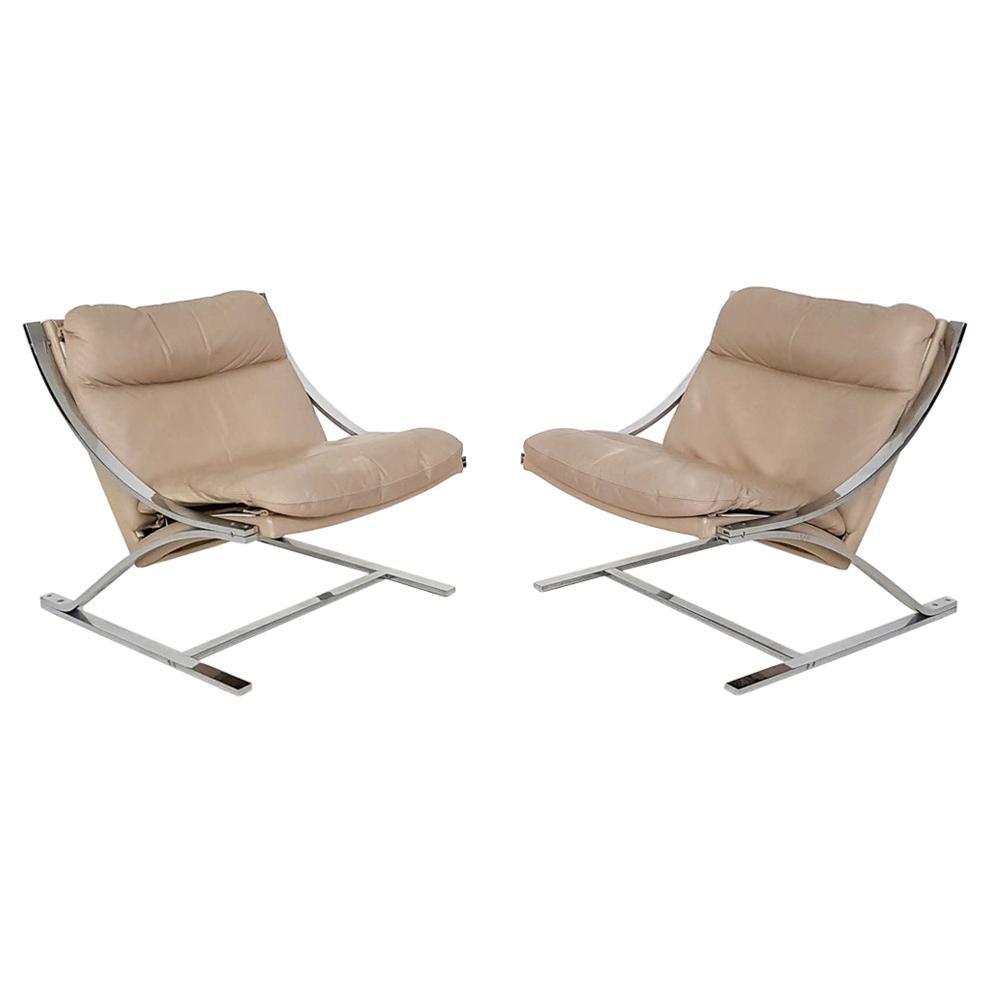 "Paul Tuttle ""Zeta"" Leather Lounge Chairs for Strässle, Switzerland 1968"