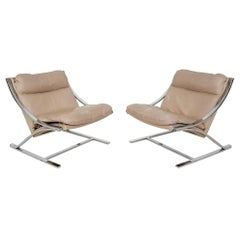 "Paul Tuttle ""Zeta"" Leather Lounge Chairs for Strässle, Switzerland 1968"