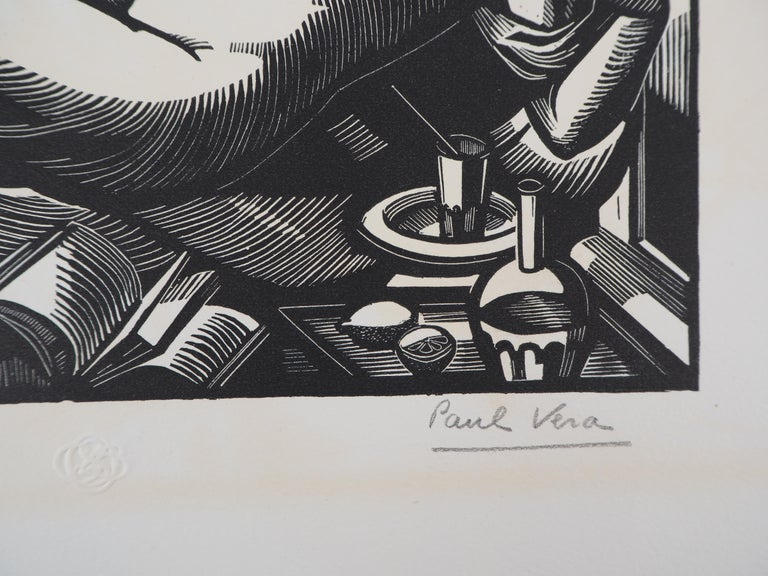 Summer : Nude with a Fan - Original woodcut, Handsigned - Print by Paul Vera
