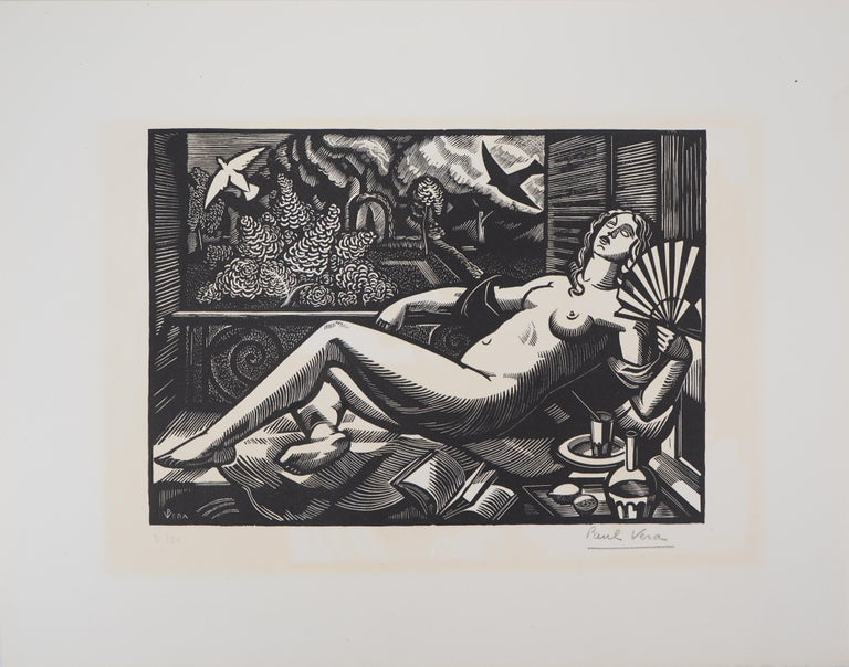 Summer : Nude with a Fan - Original woodcut, Handsigned - Art Deco Print by Paul Vera