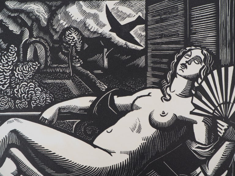 Summer : Nude with a Fan - Original woodcut, Handsigned - Gray Nude Print by Paul Vera