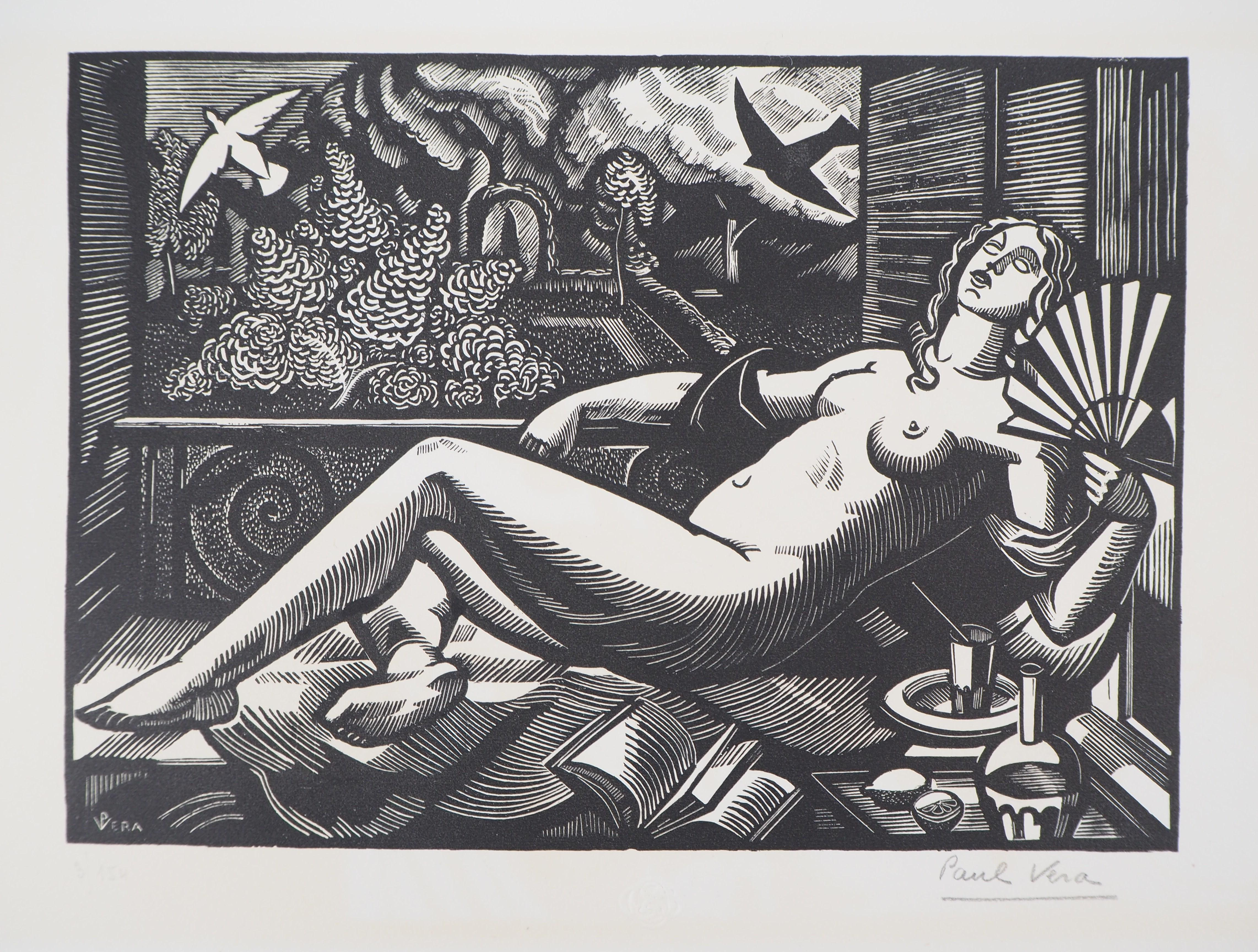 Summer : Nude with a Fan - Original woodcut, Handsigned