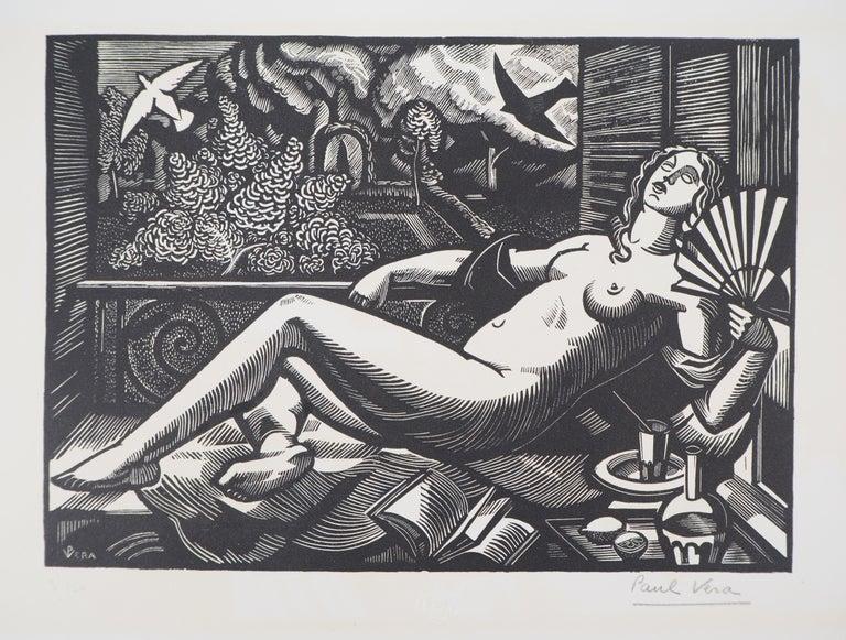 Paul Vera Nude Print - Summer : Nude with a Fan - Original woodcut, Handsigned