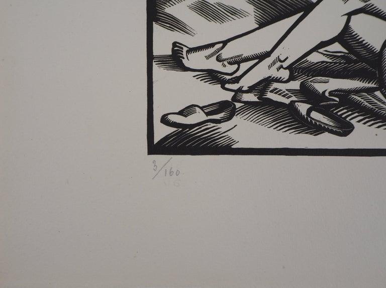 Summer - Original Wooodcut, Handsigned - Gray Figurative Print by Paul Vera