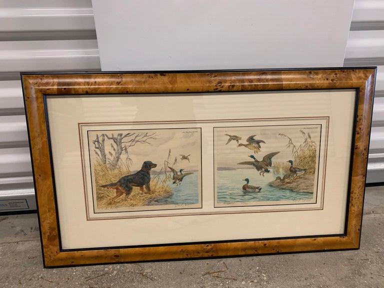 "Paul Wood Mezzotint  ""En Point"" and ""Arrival"" l Dual Print in Burled Wood Frame  1"