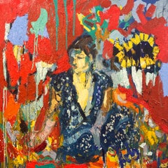 Blue Sari and The Sunflower.  Contemporary Abstract Expressionist Oil Painting