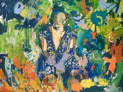 Blue Sari in the Sunflower Garden.  Contemporary Abstract Expressionist Oil