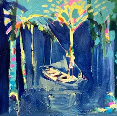 Boat Trip Through Golden Island.   Contemporary Oil Painting
