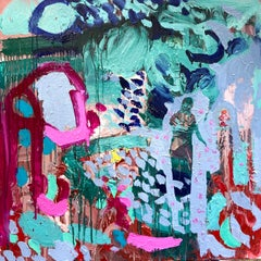 Flowers of Indigo and Violet.  Contemporary Abstract Expressionist Oil Painting