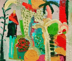 Indian Gardner.  Contemporary Abstract Expressionist Oil Painting