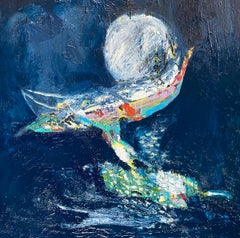 Moonlight Swimmer.  Contemporary Abstract Expressionist Oil Painting