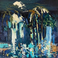 """""""Night Garden"""". Contemporary Abstract Expressionist Oil Painting"""