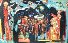 Rajasthan Brass Band.  Contemporary Abstract Expressionist Oil Painting