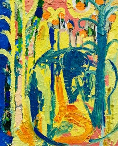 Talking To The Elephant.   Contemporary Abstract Expressionist Oil Painting