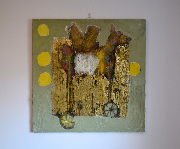 Toy Dragon : Abstract Painting Oil with Gold Leaf For Sale 1