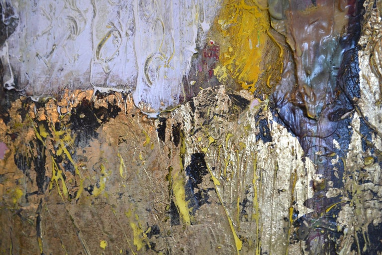 Toy Dragon : Abstract Painting Oil with Gold Leaf For Sale 4