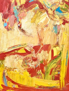Trapeze In Yellow. Abstract Expressionist Oil Painting