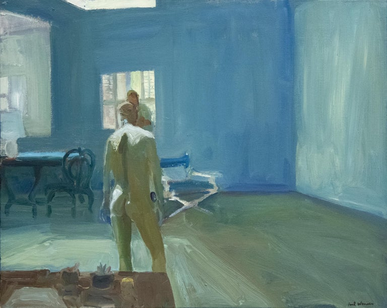 """A painting by Paul Wonner. """"Drawing in the Studio"""" is an oil on canvas painting executed primarily in blues, whites and flesh tones and depicts the back of a nude, male model in the studio by Abstract Expressionist, Bay Area Figurative Artist Paul"""