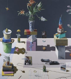 Dutch Still Life Stacked Objects & Telephone, California Artist Paul Wonner 1983